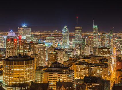 Montreal skyline at night. View from Mount-Royal. Canada.