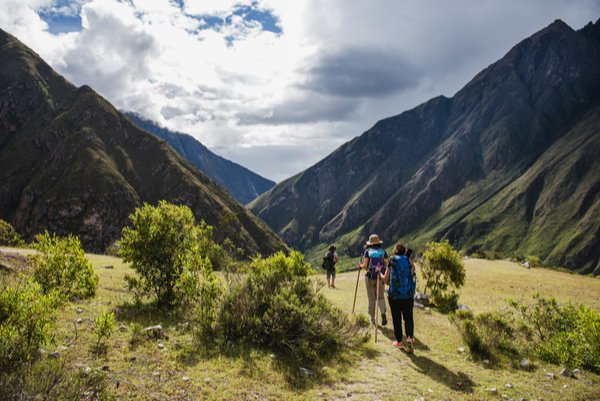 Tourists hiking the Inca Classic Trail in Peru.