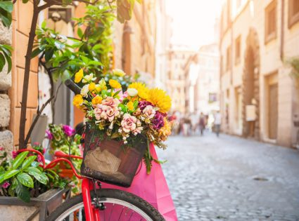 bike with flowers in italy