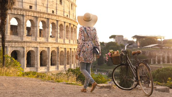 woman on bike in Rome