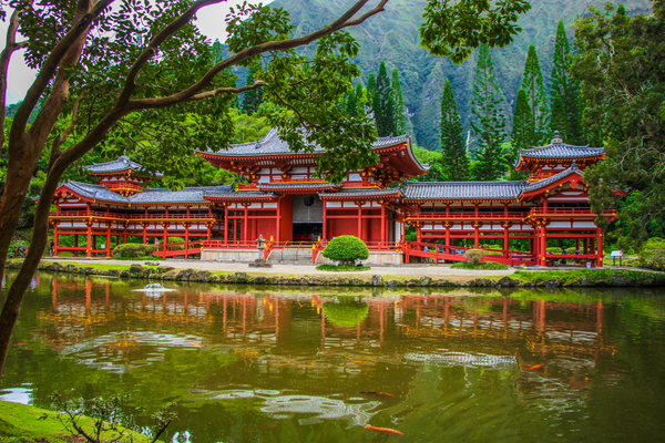 Byodo-In located in the Valley of the Temples, Oahu, Hawaii, USA