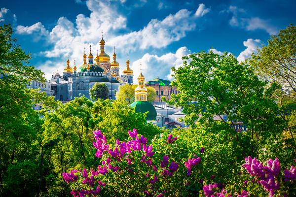 View of Kiev Pechersk Lavra. Old architecture in Kiev, Ukraine