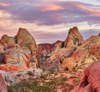 Scenic landscape in Valley of the Fire national park at sunset, Nevada, USA