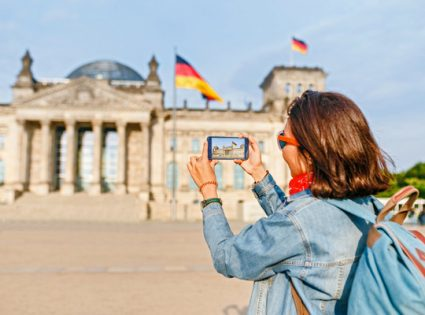 berlin germany and girl with smartphone