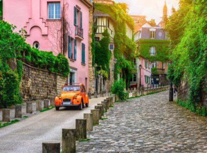 romantic residential street in paris