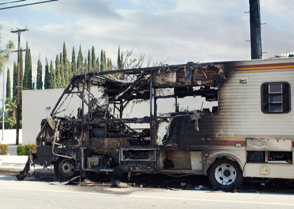 RV burned after fire