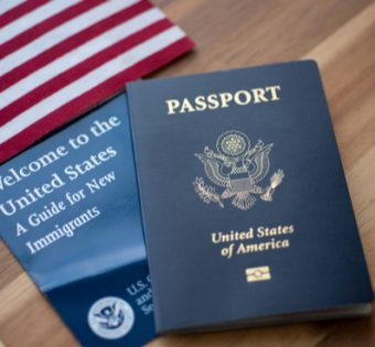usa passport and flag