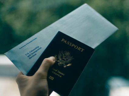 usa passport and immigration envelope