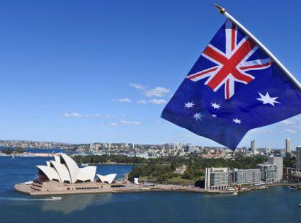 sydney harbor with australian flag