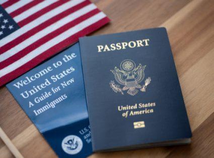 usa passport and flag